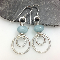 silver peacock earrings with aquamarine