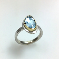 Sterling silver, 18ct gold and aquamarine Polki ring size O
