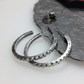 oxidised silver large hoop stud earrings