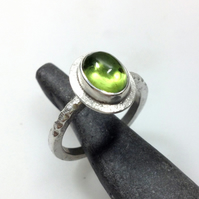 silver and peridot large statement ring UK size N and a half