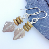 Silver and mustard shell spear earrings