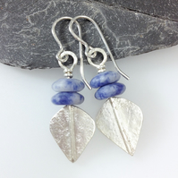 Silver and blue sodalite leaf spear earrings