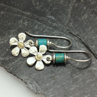 Sterling silver flower earrings with 18ct gold centres and turquoise beads