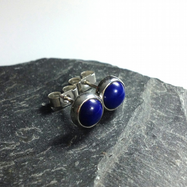 Lapis Lazuli stud earrings sterling silver, gemstone studs