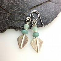 Silver and teal amazonite leaf spear earrings
