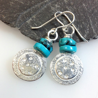 Silver and turquoise Dotty Earrings