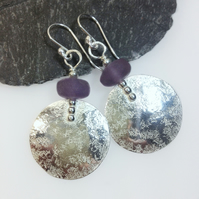 Large round silver and Frosted amethyst earrings