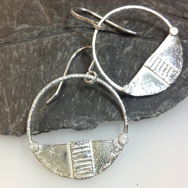 sterling silver circular tribal earrings