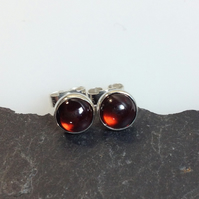 Garnet stud earrings sterling silver , gemstone studs red