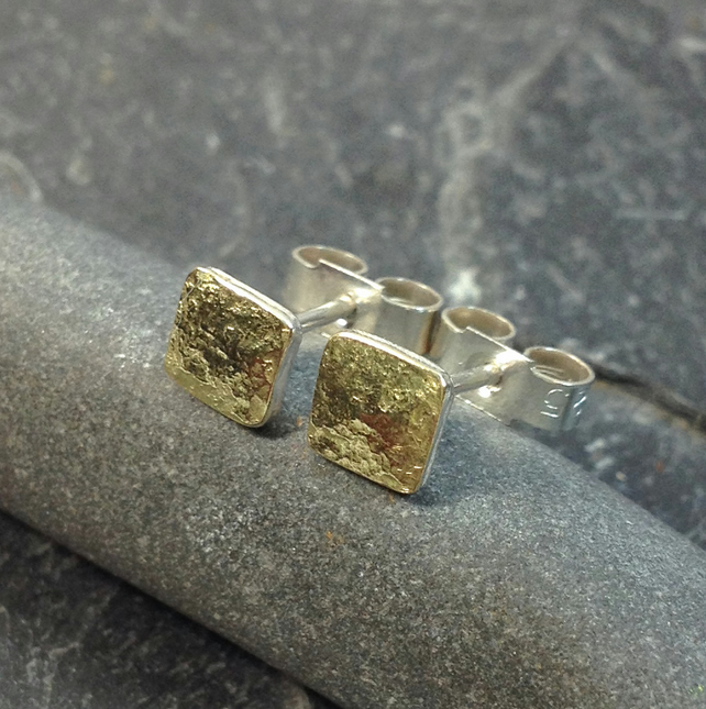 Tiny square stud earrings 18ct gold and silver