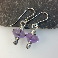 Sterling silver amethyst earrings on handmade hooks