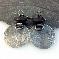 Oxidised silver and onyx earrings round earrings