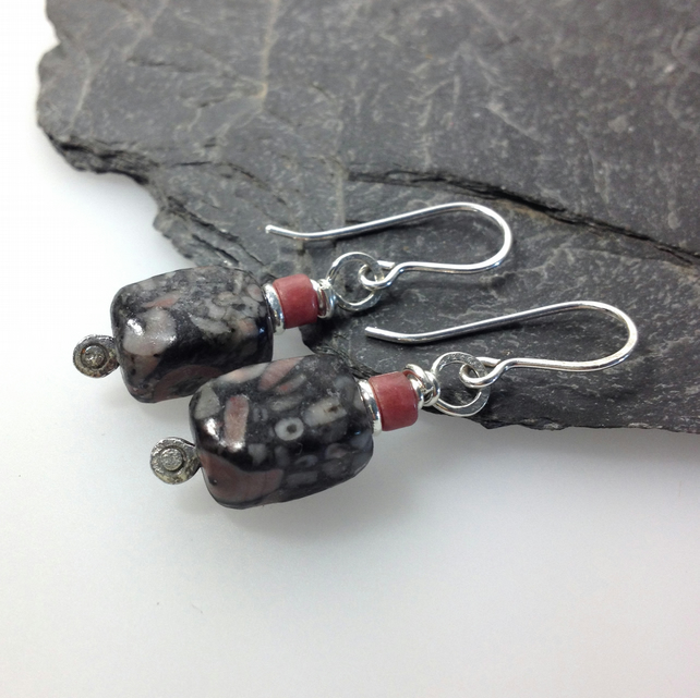 sterling silver crinoid fossil and rhodocrosite earrings