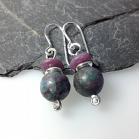 Ruby in apatite and sterling silver earrings