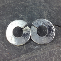 large circular sterling silver stud earrings