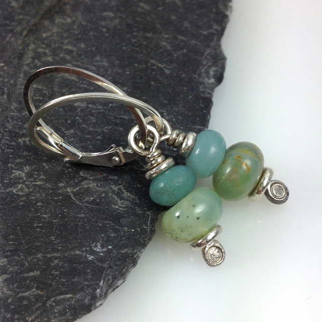 silver, peruvian opal and amazonite earrings