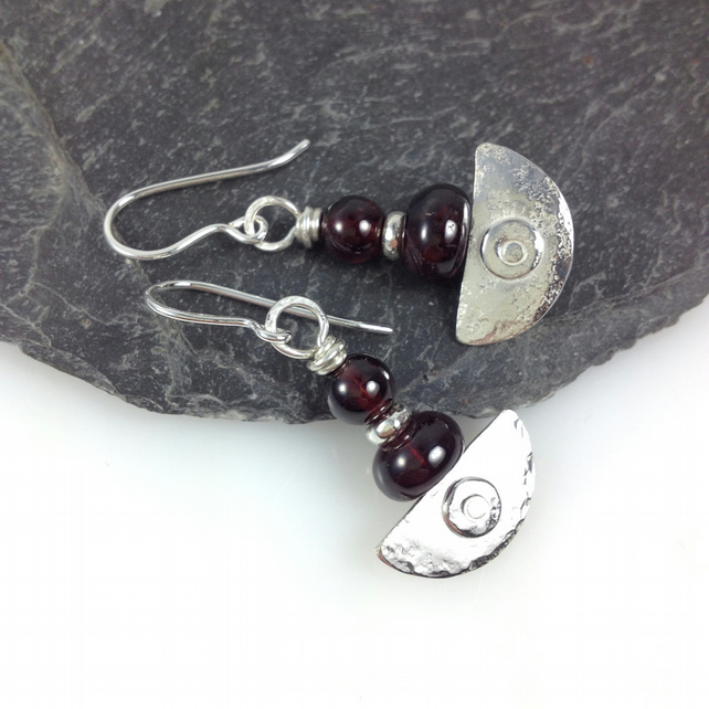 silver and garnet earrings Ulu tribal blade