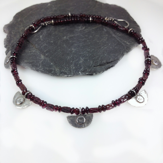 silver and garnet tribal necklace , oxidised silver