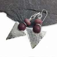 Silver and mookaite tribal earrings