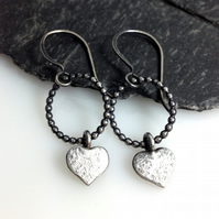 Sterling silver heart earrings - love tokens -