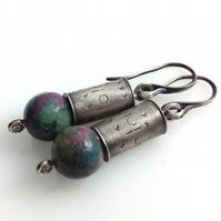 Sterling silver and ruby in apatite earrings