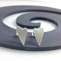 Sterling silver frosted heart stud earrings