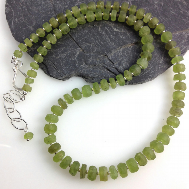 Peridot and silver necklace hand cut frosted beads