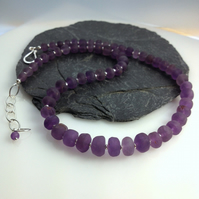 Amethyst and silver necklace hand cut frosted beads