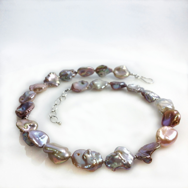 pearl necklace statement piece keshi pearls