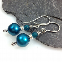 Silver bright blue pearl and apatite earrings