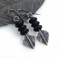 Silver and black agate spear earrings