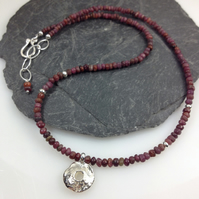 Silver and ruby Rai necklace