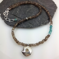 Silver smokey quartz and apatite Rai necklace