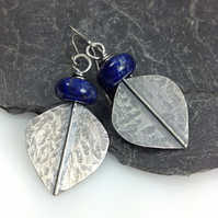 Large silver and lapis lazuli leaf spear earrings