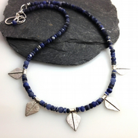 Silver and blue sodalite leaf spear necklace