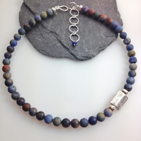 Silver and dumortierite bead necklace, asymmetrical necklace