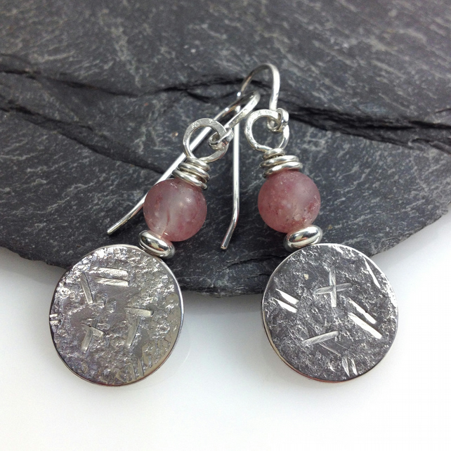 sterling silver and strawberry quartz earrings