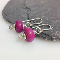 Fuchsia Jasper sterling silver earrings