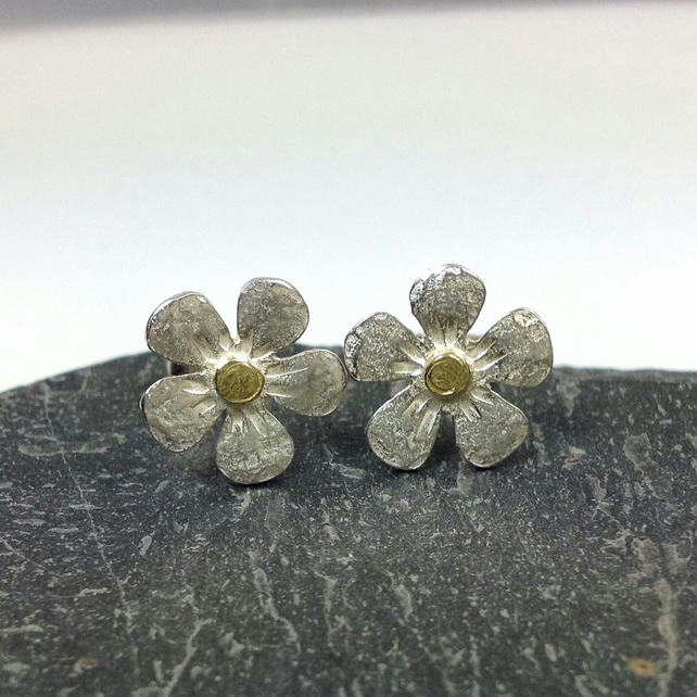 Silver and 18ct gold flower stud earrings