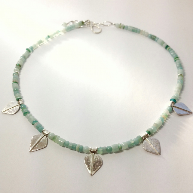 Silver and aqua blue amazonite and opal leaf spear necklace