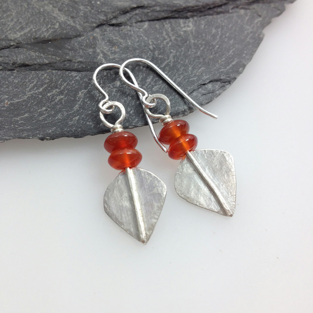 Silver and orange carnelian leaf spear earrings