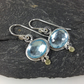 silver 18ct gold and blue topaz earrings