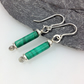 Silver and matte Malachite earrings Scrolls