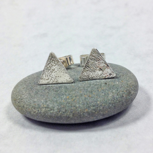 textured silver triangle studs, small stud earrings