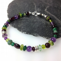 Silver and gemstone Harvest bracelet