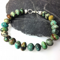 Sterling silver and African Turquoise bird egg bracelet