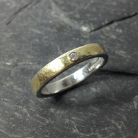 Diamond ring silver and 18ct gold UK size P