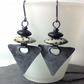 Oxidised silver dalmation jasper and black agate triangular earrings