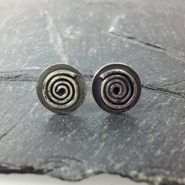 oxidised sterling silver spiral stud earrings