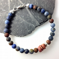 Silver dumortierite and bauxite bracelet